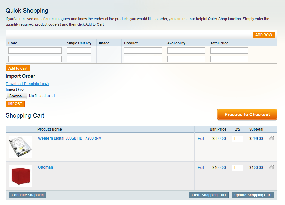 magento csv import template - magento quick shopping add to cart by sku name or